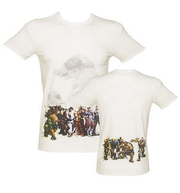 Men's White Line Up Back Print Street Fighter T-Shirt