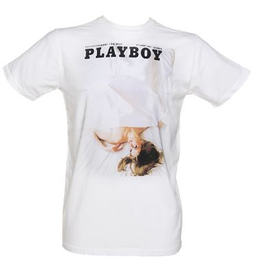 Men's White Playboy Bedsheets T-Shirt from Palmercash