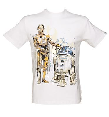 Men's White R2-D2 and C3PO Droids T-Shirt from Addict