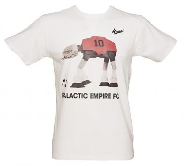 Men's White Retro Galactic Empire Robot Footballer T-Shirt from Kempt
