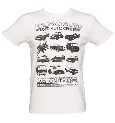 Men's White Retro Star Cars Vintage T-Shirt