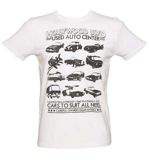 Men's White Retro Star Cars Vintage T-Shirt from TruffleShuffle