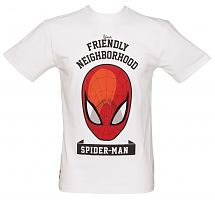 Men's White Spiderman Neighbourhood Marvel T-Shirt from Addict
