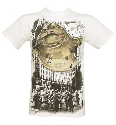 Men's White Star Wars Jabba The Hut Balloon T-Shirt