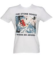 Men's White Stone Roses Wanna Be Adored T-Shirt from Amplified Vintage