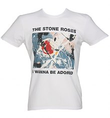 Men's White Stone Roses Wanna Be Adored T-Shirt from Amplified Vintage [View details]