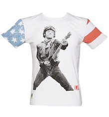 Men's White Slub The Boss Flag Print Sleeves Bruce Springsteen T-Shirt from Worn By [View details]