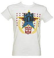 Men's White Transformers Optimus Prime Stars T-Shirt