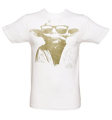 Men's White Yoda Sunglasses Star Wars T-Shirt