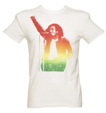 Men's White Bob Marley Fist T-Shirt from Urban Species