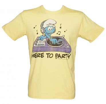 Men's Yellow Smurfs Here To Party T-Shirt from Junk Food