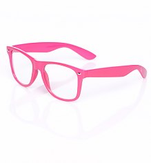 Neon Pink Clear Geek Wayfarer Sunglasses [View details]