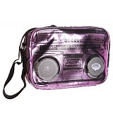 Pink Metallic Retro Boombox Shoulder Bag With Working Speakers from Fydelity