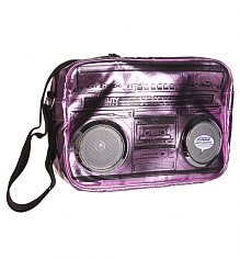 Pink Metallic Retro Boombox Shoulder Bag With Working Speakers from Fydelity [View details]