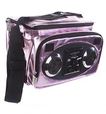 Pink Metallic Retro Chillout Cooler With Working Speakers from Fydelity [View details]