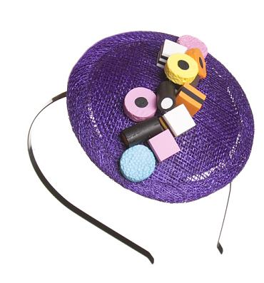 Purple Liquorice Allsorts Fascinator from ShmooBamboo
