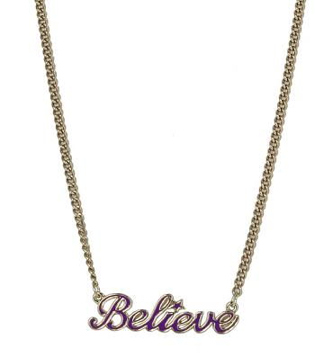 Purple and Gold Plated Tinkerbell Believe Necklace from Disney Couture