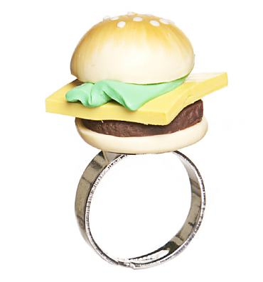 Retro 3D Hamburger Ring from Punky Pins