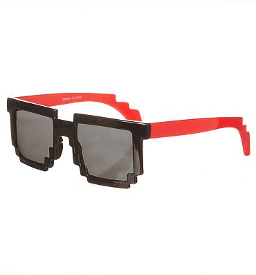 Retro Black And Red Pixelated Sunglasses