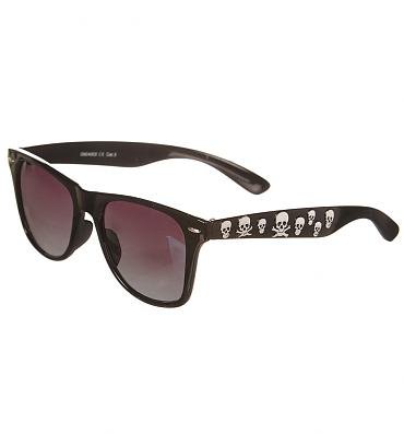 Retro Black Wayfarer Sunglasses With Silver Skull Detail