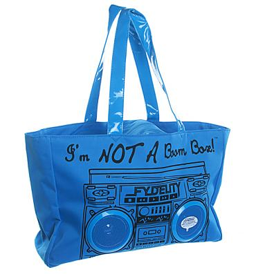 Retro Blue I'm Not A Boombox Tote Bag with Working Speakers from Fydelity
