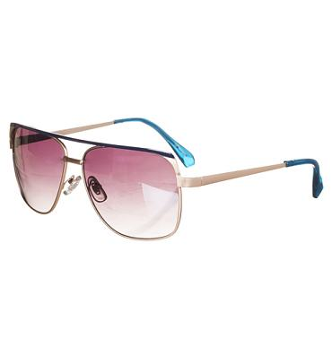 Retro Blue Lionel Angular Aviator Sunglasses from Jeepers Peepers