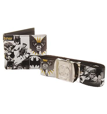 Retro DC Comics Batman Print Belt And Wallet Gift Set