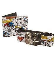 Retro DC Comics Superman Print Belt And Wallet gift Set