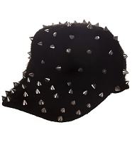 Retro Fluffy Black Studded Cap from Chelsea Doll