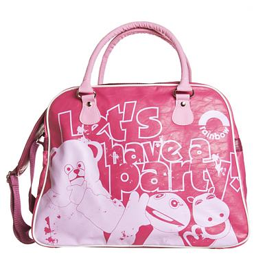Retro Hot Pink Let's Party Rainbow Overnight Bag