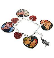 Retro Pop Art Cartoon Kisses Charm Bracelet from Punky Pins