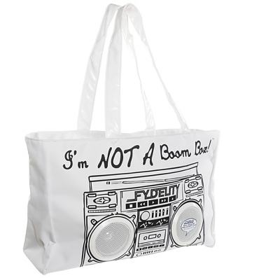 Retro White I'm Not A Boombox Tote Bag with Working Speakers from Fydelity
