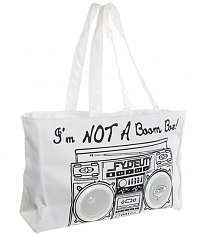 Retro White I'm Not A Boombox Tote Bag with Working Speakers from Fydelity [View details]