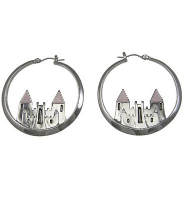 Rhodium Plated Magic Castle Hoop Earrings from Disney Couture