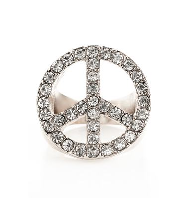 Silver And Diamante Peace And Love 90's Ring from Me & Zena
