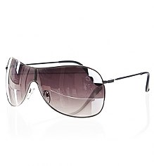 Silver Frame Mirror Lens Aviator Wrap Visor Sunglasses [View details]