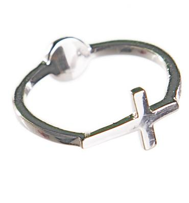 Silver Jesus Loves You 90's Cross Ring from Me & Zena