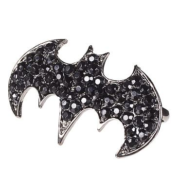 Silver Plated And Diamante Batman Logo Ring from Chelsea Doll