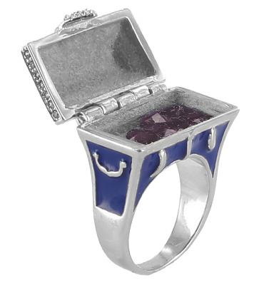 Silver Plated Opening Treasure Chest Ring With Crystals from Disney Couture