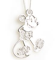 Silver Plated Pave Crystal Mickey Mouse Figure Necklace from Disney Couture