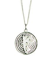 Silver Plated Pave Tinkerbell Cut Out Pendant Necklace from Disney Couture