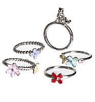Silver Plated Set of 5 Stackable Winnie The Pooh Rings from Disney Couture