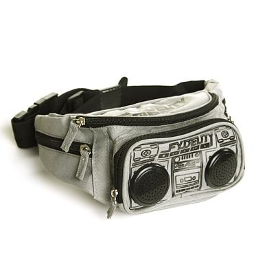 Bullet Grey Retro Boombox Bum Bag With Working Speakers from Fydelity