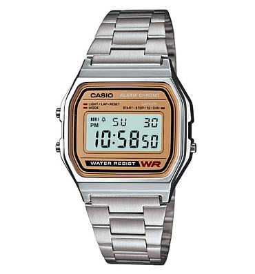 Silver Strap Gold Face Retro Digital Watch from Casio