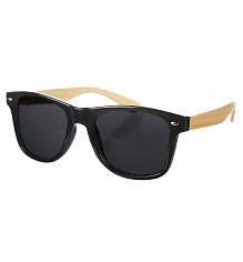 Black Wayfarer Sunglasses With Bamboo Arms [View details]