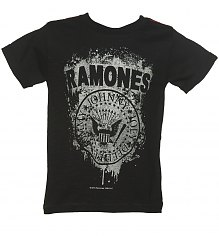 Kids Black Ramones Faded Logo T-Shirt from Amplified Kids [View details]