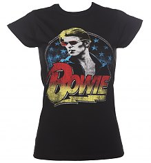 Ladies Black David Bowie Smoking T-Shirt [View details]