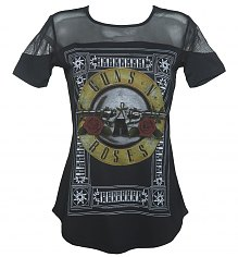 Ladies Black Guns N Roses Drum Sheer Panel T-Shirt from Amplified [View details]