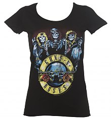 Ladies Black Guns N Roses Skeleton T-Shirt from Amplified [View details]