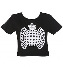 Ladies Black Ministry Of Sound Cropped T-Shirt [View details]